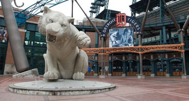 抵达底特律老虎棒球队主场