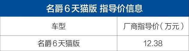 名爵6天猫版正式上市 售12.38万元/配置水平丰富