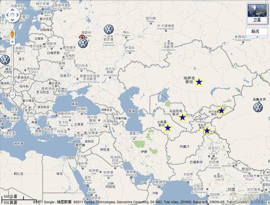 从地图上来看,乌鲁木齐与中亚五国的距离明显比