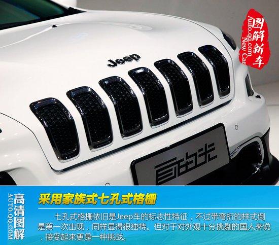 七孔式隔栅依旧是jeep车的标志性特征,不过带弯折的样式倒高清图片