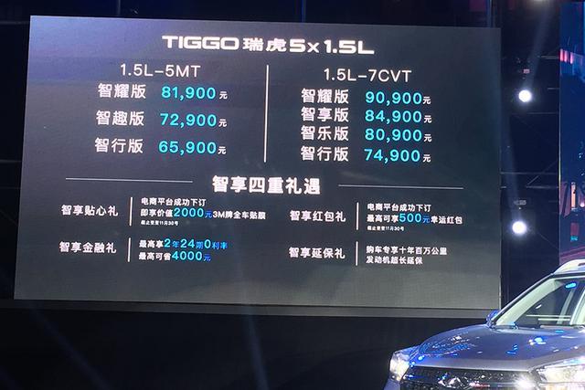 售6.59-9.09万元 奇瑞新款瑞虎5x 1.5L版上市