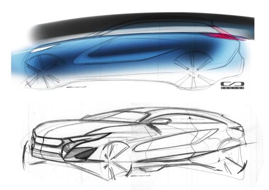 长安新款SUV海外设计草图曝光 内部代号V302