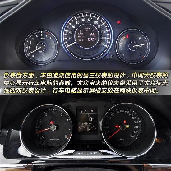 凌派对比全新宝来 仪表盘方面,本田凌派使用的是三仪表的设计,整体处于同一平面上,并且加入了仪表盘氛围灯的元素,显得比较有科技感。其中中间大仪表的中心为单色液晶显示屏,用以显示行车电脑的参数。大众宝来的仪表盘采用了大众标志性的双仪表设计,行车电脑显示屏被安放在两块仪表中间,比较特别的是,宝来的仪表盘采用了炮筒装饰。
