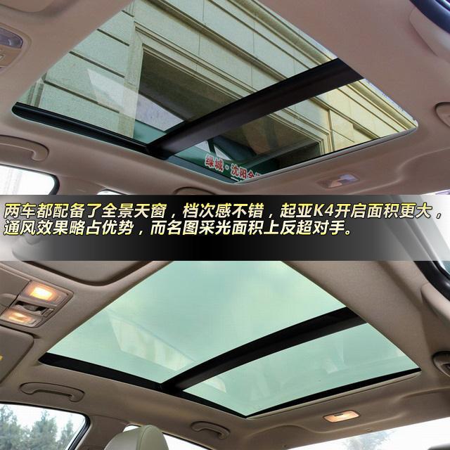 两车都配备了全景天窗,档次感不错,起亚k4开启面积更大,通风效果略占