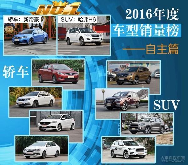 2016年度车型销量排行榜解读 自主篇
