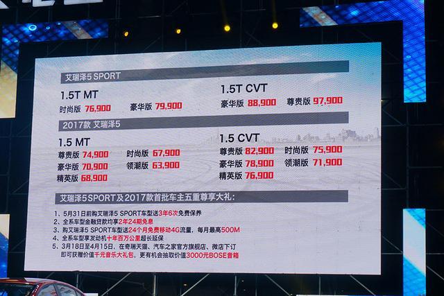 艾瑞泽5 SPORT及2017款上市 售6.39-9.79万元