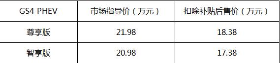 传祺GS4 PHEV上市售价20.98万元起