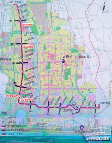 地铁三号线示意图-太原市地铁规划调整 线路延伸贯通龙城图片