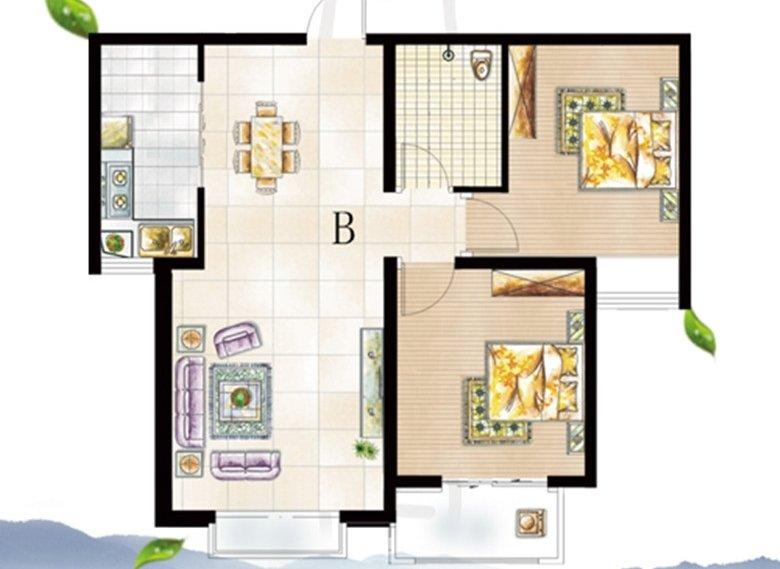 左下角为三室两厅两卫户型,客厅大尺度飘窗设计,延展了室内空间