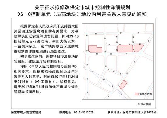 保定市城市控制性详细规划XS-10控制单元地段