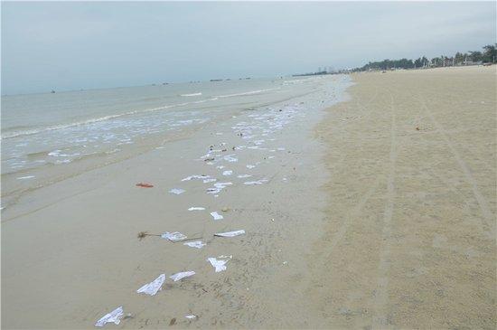 城市行摄:海潮卷来废纸 银滩竟成垃圾场?