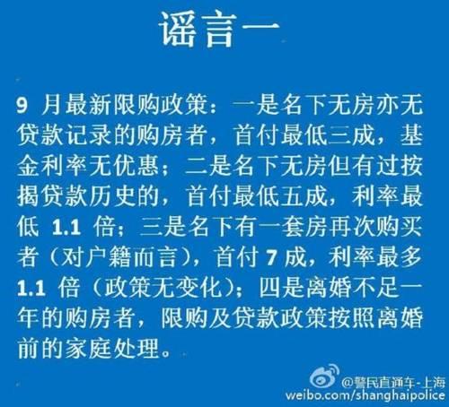 9月起上海实行购房信贷新政?7名中介人员涉谣被刑拘