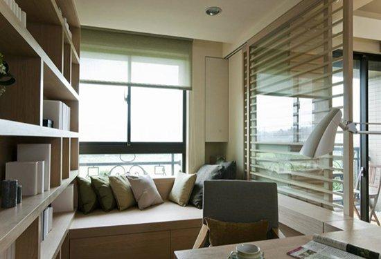 餐厅-结合喷纱玻璃的备餐柜,兼具分野玄关与餐厅的机能.-92.4平现
