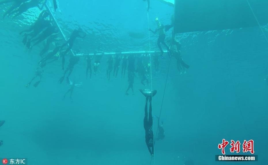 自由潜水107米创新纪录