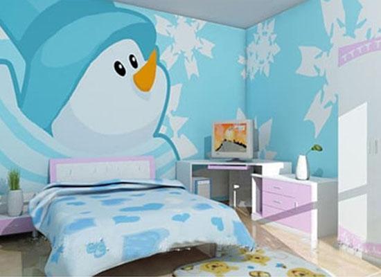 儿童房手绘墙画的选择主要以卡通图案为主,比如各个动画片里的重要