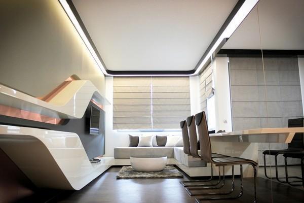 80平现代风简约住宅 流线设计超炫电视墙