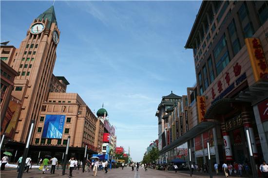 这条北京最有名的商业街,路西有全国闻名的北京百货大楼,路东有著名的新东安市场,还有全国最大的工艺美术商店、全国最大的新华书店、外文书店、全国规模最大的中国照相馆以及利生体育用品中心、医药器械商店、王府井购物中心、穆斯林贸易大厦等。这里还汇集了不少老字号和有经营特色的新兴商店,如盛锡福帽店、同陛和鞋店、新世界丝绸店、百草参茸药店、碧春茶叶店等。