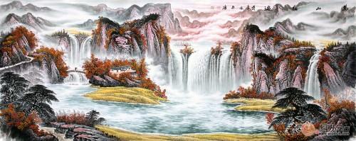 大气风水国画打造美景旺财好运来