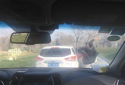 """北京野生动物园游客下车投食 引黑熊""""围观"""""""
