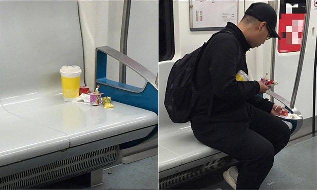 点赞!地铁10号线座位上留垃圾 小哥看见默默收拾带下车