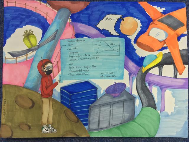 《太空城市》周彦姝(初一)-科幻空间美术之星 青少年科幻画征集大图片