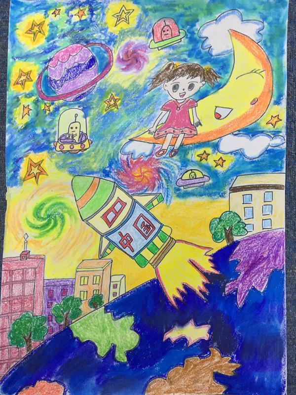 中国梦,遨游外太空》谢紫涵(三年级)-科幻空间美术之星 青少年图片