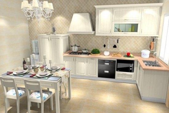 厨房将现代的照明装备与传统的木质橱柜结合,创设出传统又现代的冲突图片
