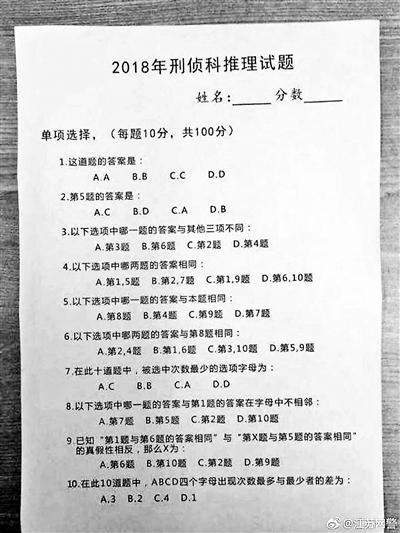 """""""刑侦科目推理题""""走红 实为中学推理社团招新题"""