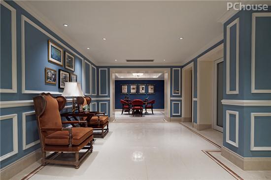 当中国红遇上法国蓝 法式风格别墅设计图片
