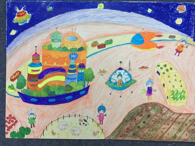 《太空农场》朱若彤(初一)-科幻空间美术之星 青少年科幻画征集大图片