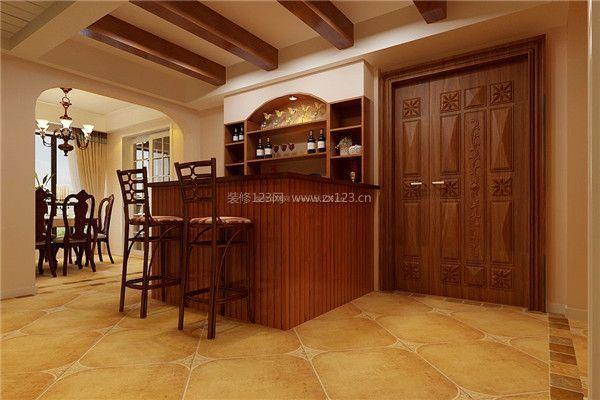 新中式家装吧台酒柜设计效果图