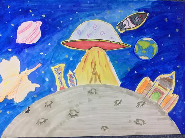 《太空之城》王秋奕(初二)-科幻空间美术之星 青少年科幻画征集大图片