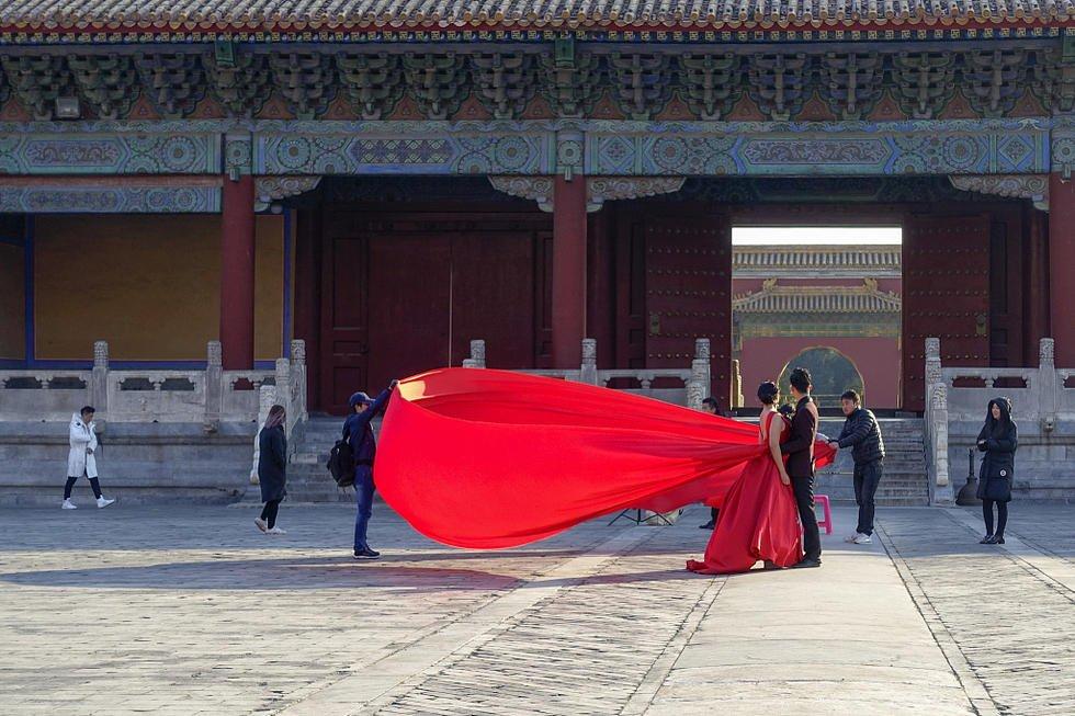 新娘太庙拍照美丽冻人