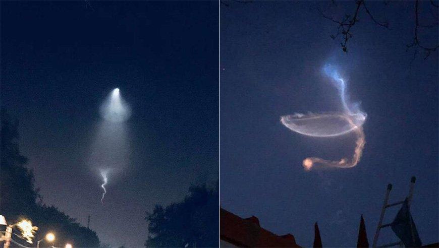 北京上空现奇异亮光 网友:谁家手电筒扔天上了
