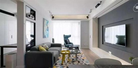 自由职业者的暗灰色系 91平米简约两居室