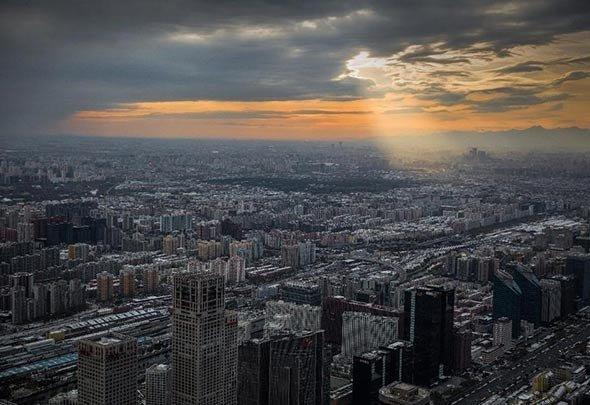 壮观!体验北京404米高空下的初雪