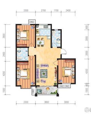 7#户型三室两厅113.61平米