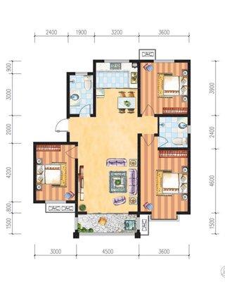 7#三室两厅两卫130.71平米户型