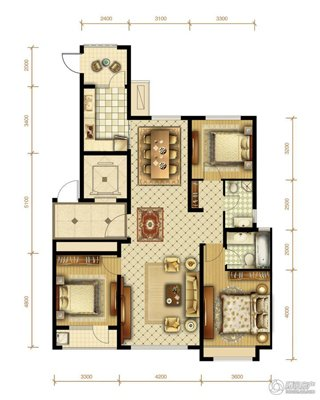 7#楼标准层 139�O 2室2厅1卫