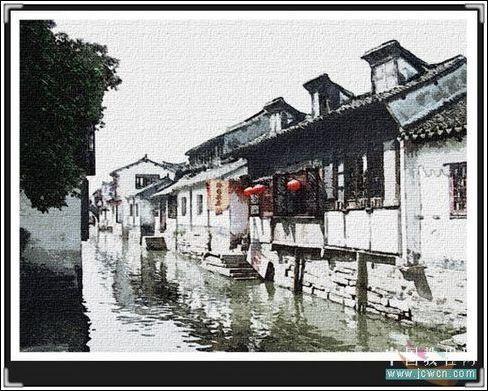 Photoshop打造江南水乡素描画效果