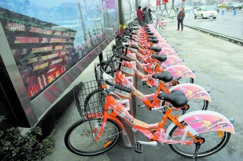 都江堰建首个公共自行车租赁点 春节前后投用
