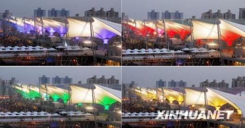上海世博园世博轴进行灯光调试(拼版照片,2010年3月16日摄).新