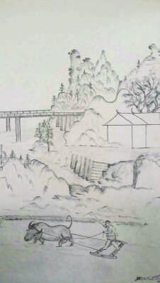 小摊场景手绘图