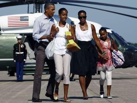 奥巴马12岁的女儿身高赶上父亲(组图)_教育_腾