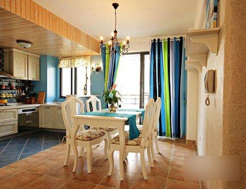 很有欧式风味,白色的餐桌椅调和了蓝绿色的主色调,显得室内清新自然.