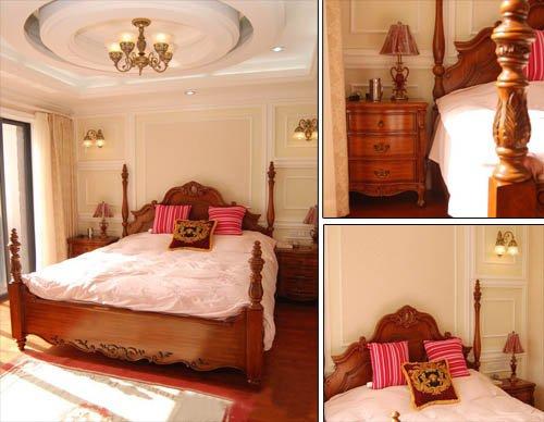 选用原木精心雕刻的床和柜子等卧室家具,优雅中带着浓厚的自然气息.