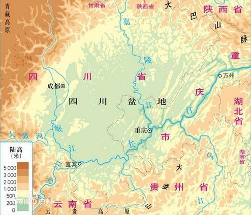 四川盆地地图