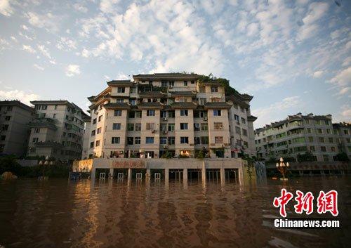 广安老城区80%以上被淹 渠江广安段水位续涨