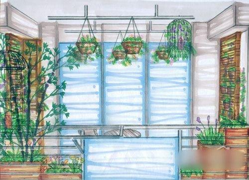 室内手绘图阳台