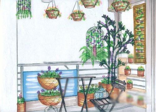 设计阳台手绘图
